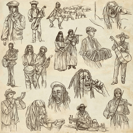 Music and MUSICIANS around the World. Collection of an hand drawn illustrations on old paper. Stock Photo