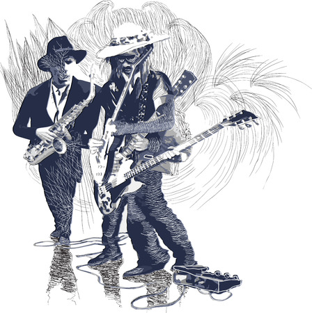 An hand drawn vector illustration. Poster of an musician. Guitar player, guitarist and Sax player, Guitarist in action - motion study of instrument. Jam Session on the Stage. Picture is editable.