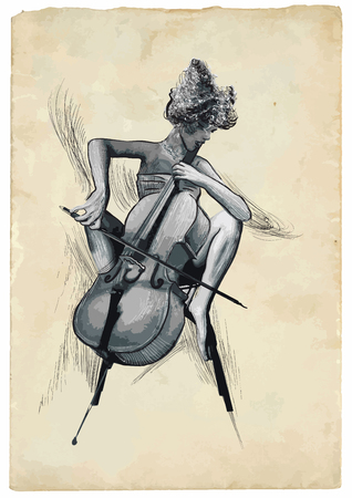 acoustics: An hand drawn vector illustration. Poster of an musician. Chello player in action. Picture is easy editable.