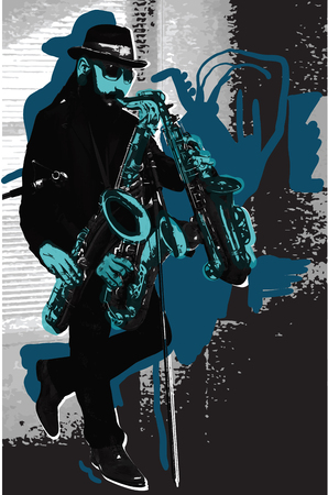 An hand drawn vector illustration. Poster of an Man playing the Sax. Music, Musician. Bearded Saxophone Player in Blue. A few snapshots of move a musical instrument. Evening mood. Picture is editable by layers and named groups. Illustration