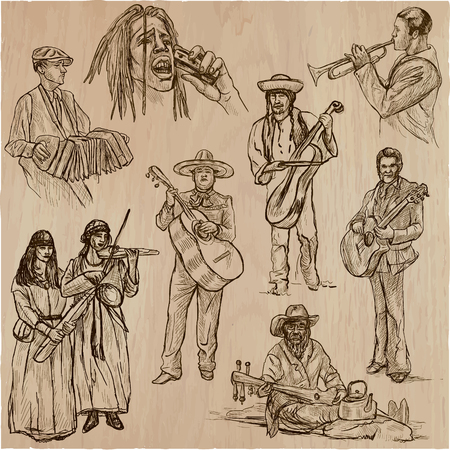 Music and MUSICIANS around the World. Collection of an hand drawn illustrations, vectors pack. Each drawing comprises of a few layers of outlines, the colored background is isolated.