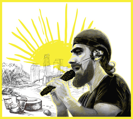 An hand drawn vector illustration. Poster of an bearded man, singer, singing an song. Music, Musician. Picture is editable by layers and named groups.