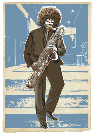 acoustics: An hand drawn vector illustration. Poster of an young man playing the sax. Music, Musician. Afro Saxophonist player in the blue room. Retro mood. Picture is editable by layers and named groups.