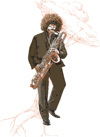 poetic: An hand drawn vector illustration. Poster of an young man playing the sax. Musician. Poetic of music - Afro hair style saxophonist playing. Picture is editable by layers and named groups.