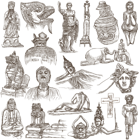 An hand drawn collection. NATIVE AND OLD ART. Artistic works of different cultures around the World. Pack on white, isolated. Full sized hand drawings. Line art technique.