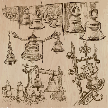 An hand drawn vector pack of bells.