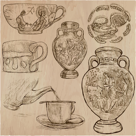 An hand drawn vector pack of ceramics.