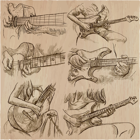 An hand drawn vector pack of GUITAR SOLOS. Line art. Pack of hands of guitarist. Guitar players play a solo. Illustration