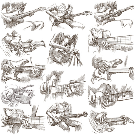 An hand drawn full sized pack of GUITAR SOLOS. Line art. Pack of hands of guitarist and their instruments. Guitar players play a solo. Set is isolated on white background. Stock Photo