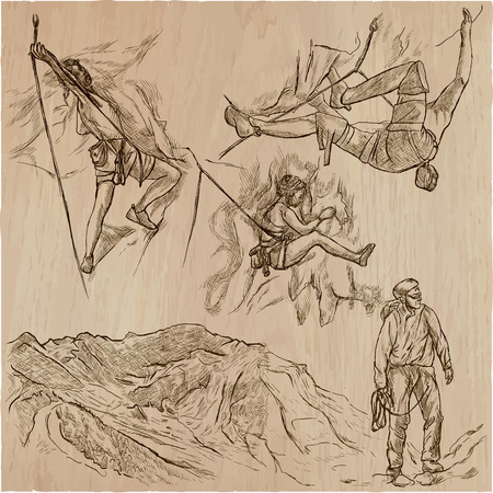 An hand drawn collection, vector pack - CLIMBING. Outdoor activities, Climbers climb the rocks. Extreme and adrenaline sporting events.