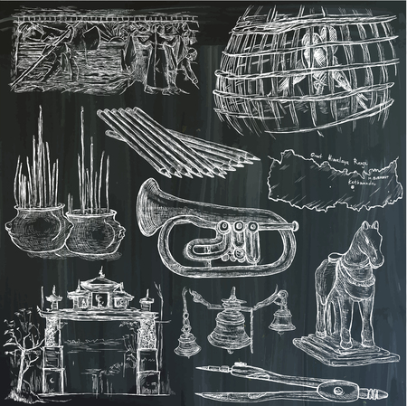 An hand drawn vector collection. Bric a brac, OBJECTS. Line art techniques. Blackboard pack, white lines.