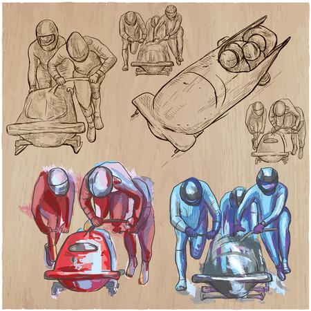 Une collection dessinée à la main, pack de vecteur - Événements sportifs - Sports d'hiver - BOBSLEIGH. Technique de dessin au trait. Vecteurs