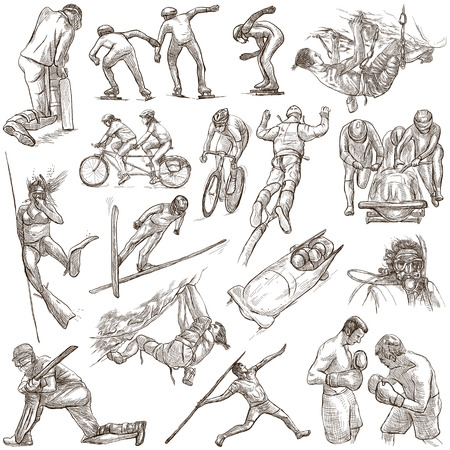 An hand drawn collection. Sporting Events, SPORT Mix. Pack on white, isolated. Full sized hand drawings. Line art techniques.