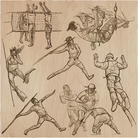 An hand drawn collection, vector pack Sporting events mix of sports. Line art technique.