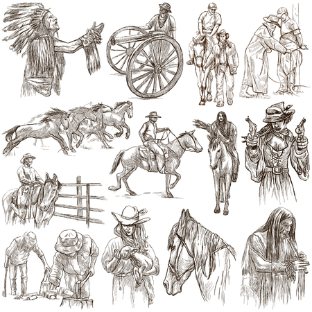 An hand drawn full sized hand drawn collection, pack. WILD WEST, American frontier and Native Americans. Line art technique on white background. Isolated.