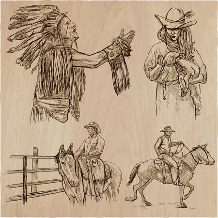 A hand drawn collection, vector pack - WILD WEST, American frontier and Native Americans. Early Western Life in North America. Line art technique.