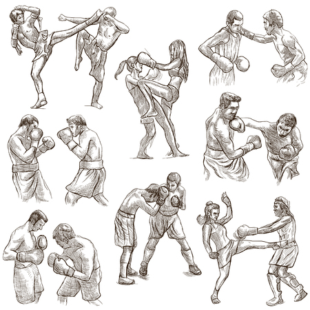 An hand drawn collection of sporting event. Box. BOXING sport. Set of some sportmen, boxers. Hand drawings. Line art on white. Isolated. Stok Fotoğraf - 96464337