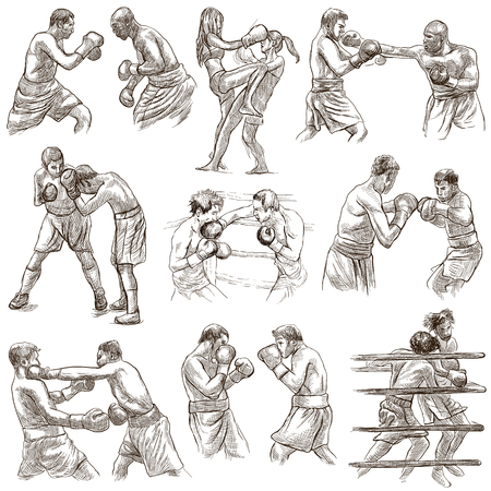 An hand drawn collection of sporting event. Box. BOXING sport. Set of some sportmen, boxers. Hand drawings. Line art on white. Isolated.