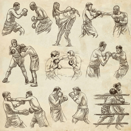 An hand drawn collection of sporting event. Box. BOXING sport. Set of some sportmen, boxers. Hand drawings. Line art on old paper.