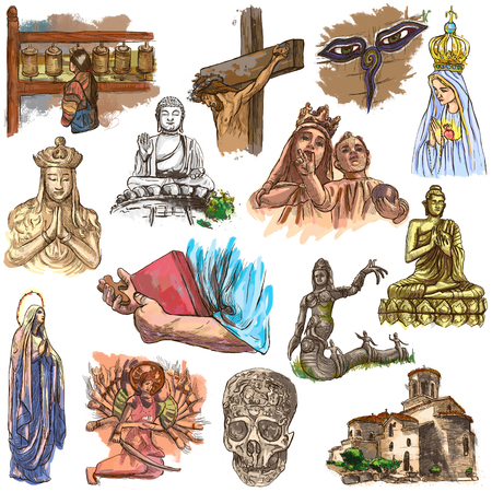 An hand drawn collection of SPIRIT LIFE around the World. Religious. RELIGION. Set of some sculptures, ceremonies and rituals. Hand drawings. Line art on white. Isolated.