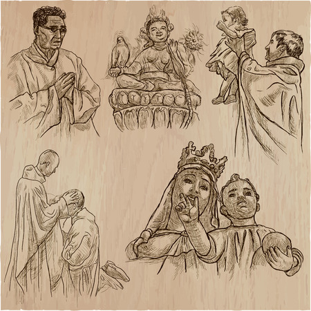 An hand drawn VECTOR collection of SPIRIT LIFE around the World. Religious. RELIGION. Set of some events and ceremonies and sculpture. Hand drawings, line art technique. Illustration