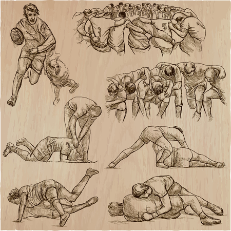 An hand drawn VECTOR collection of RUGBY sport.