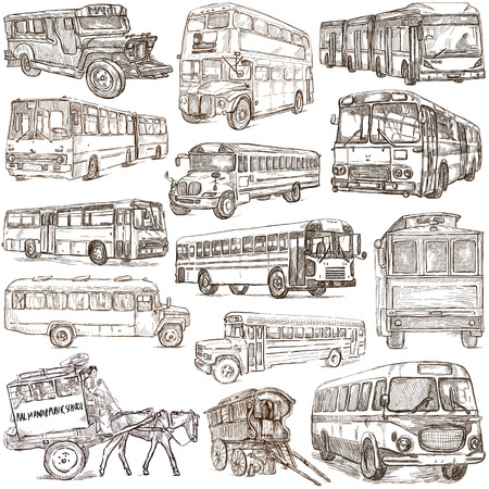 An hand drawn collection of TRANSPORTATION and Transport around the World - BUSES. Hand drawings, freehand sketching. Line art on white. Isolated.