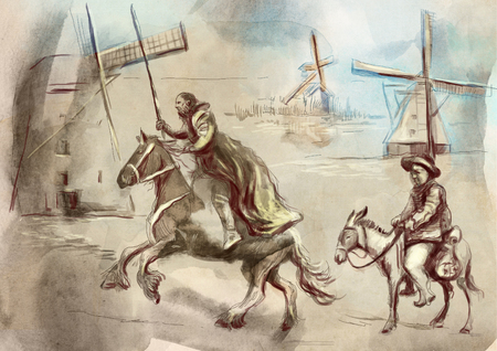 Don Quixote and Sancho Panza - An hand painted illustration. Digital drawing technique. Stock Illustration - 104717333