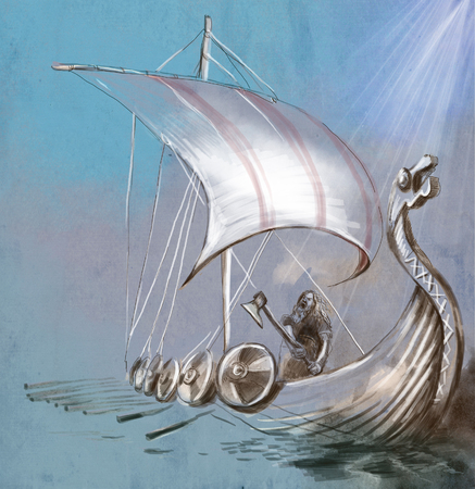Viking Age. Drekar ship and Warrior with the Axe standing on boat with dragon head. An hand painted illustration.