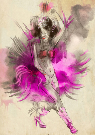 Carnival Dancer. An hand painted picture with some dancing woman.