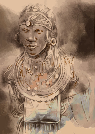Portrait of an African, Man. An hand painted vector illustration.