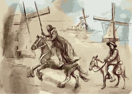 Don Quijote y Sancho Panza - Una ilustración vectorial pintada a mano. Técnica de dibujo digital.