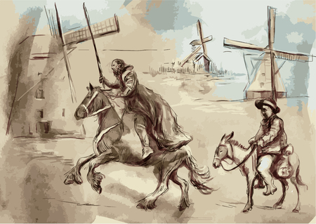 Don Quixote and Sancho Panza - An hand painted vector illustration. Digital drawing technique.