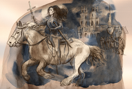 Joan of Arc. An hand painted illustration, colored line art. Digital painting technique.