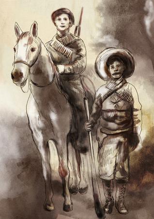 Prima del tempo in Messico - Un'illustrazione dipinta a mano, disegni al tratto colorati. Tecnica di pittura digitale. Archivio Fotografico
