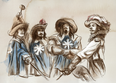 The Three Musketeers. An hand drawn illustration. Freehand drawing, painting. Stock Photo