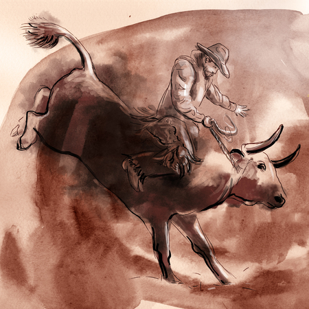 Rodeo. An hand drawn illustration. Freehand drawing, painting.