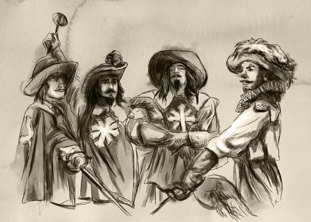 The Three Musketeers. An hand drawn illustration. Freehand drawing, painting. Stock Illustration - 113034094