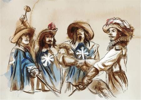 Die drei Musketiere. Eine handgezeichnete Illustration. Freihand zeichnen, malen. Vektor