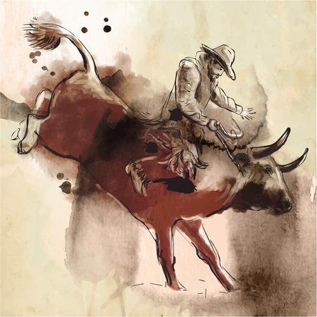 Rodeo. Eine handgezeichnete Illustration. Freihand zeichnen, malen. Vektor