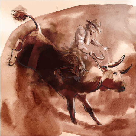 Rodeo. An hand drawn illustration. Freehand drawing, painting. Vector Illustration