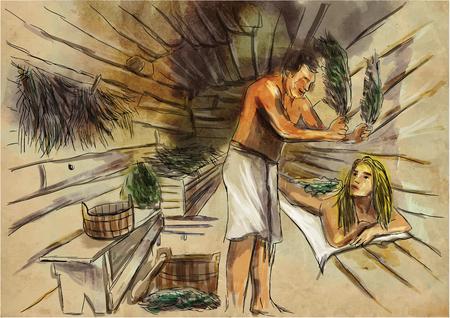 Banya - sauna. An hand drawn illustration. Freehand drawing, painting. Vector Vector Illustratie