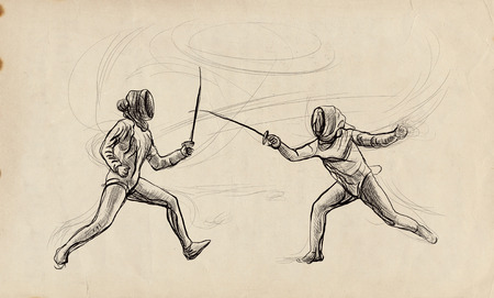 Competitive FENCING - Two sportmen, athletes in a match. An hand drawn illustration. Freehand sketching, drawing of an sporting event. Stok Fotoğraf - 115746854