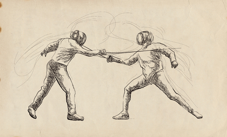 Competitive FENCING - Two sportmen, athletes in a match. An hand drawn illustration. Freehand sketching, drawing of an sporting event. Stok Fotoğraf - 115746880