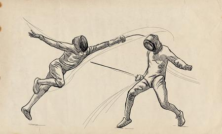 Competitieve SCHERMEN - Twee sporters, atleten in een wedstrijd. Een handgetekende illustratie. Uit de vrije hand schetsen, tekenen van een sportevenement.
