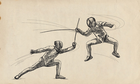 Competitive FENCING - Two sportmen, athletes in a match. An hand drawn illustration. Freehand sketching, drawing of an sporting event. Stok Fotoğraf - 115746890