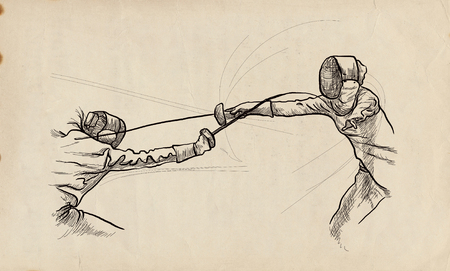 Competitive FENCING - Two sportmen, athletes in a match. An hand drawn illustration. Freehand sketching, drawing of an sporting event. Stok Fotoğraf - 115746893