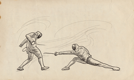 Competitive FENCING - Two sportmen, athletes in a match. An hand drawn illustration. Freehand sketching, drawing of an sporting event.