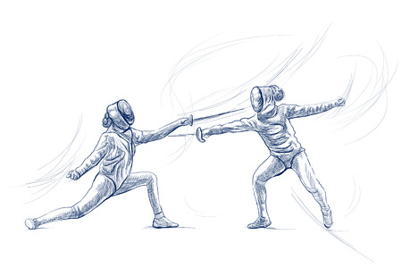 Competitive FENCING - Two sportmen, athletes in a match. An hand drawn illustration. Freehand sketching, drawing of an sporting event. Line art in blue colour isolated on white. Stok Fotoğraf - 115906307
