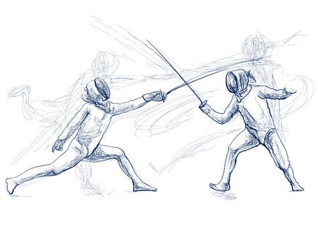 ESCRIME de compétition - Deux sportifs, athlètes dans un match. Une illustration dessinée à la main. Croquis à main levée, dessin d'un événement sportif. Dessin au trait de couleur bleue isolé sur blanc.